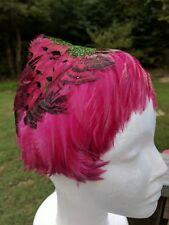 Vintage 1960s Feather Hat Art Deco Eva Mae Fuschia Pink Blue Green Pixie Kiss