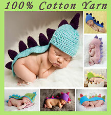 New Baby Boy Girl Crochet Cotton Dinosaur Beanie Costume Hat Set 0-3,3-6 Months