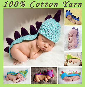 New Baby Boy Girl Crochet Cotton Dinosaur Beanie Costume Hat Set 0-3,3-6 Months
