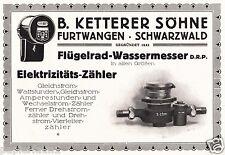 Wasseruhr Ketterer Furtwangen Reklame von 1921 Stromzähler Fabrik Wassermesser