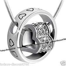 Heart Ring Crystal Diamond Necklace Pendant Love Xmas Gift For Wife Daughter Her