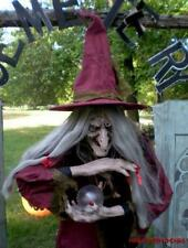 ANIMATED 7 FOOT LIFE SIZE FORTUNE TELLING HAZEL the WITCH TALKING HALLOWEEN PROP