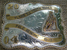 2004 POLE BENDING FLYING  YOUTH RODEO NICKLE SILVER 3B SILVERSMITHS BELT BUCKLE