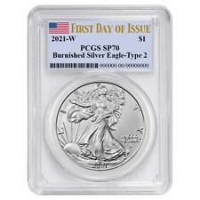 Presale - 2021-W Burnished $1 Type 2 American Silver Eagle PCGS SP70 FDOI Flag L