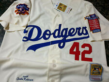 Dodgers #42 Jackie Robinson cooperstown Limited Edition Patch sewn Jersey WHITE