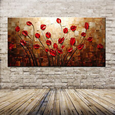 100% Hand Painted Palette Knife Red Flower Oil Painting On Canvas