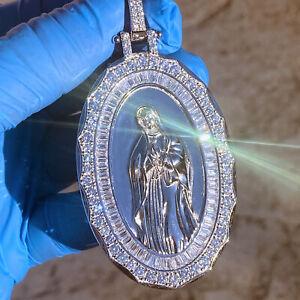 "925 Sterling Silver La Virgen De Guadalupe Oval Virgin Mary Pendant Large 2.75"""