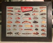 Heddon Famous Fishing Lures Tin Plaque in Frame 1930's -1950's.NEW!!
