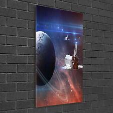 Wandbild Kunst-Druck auf Hart-Glas senkrecht 50x100 Raumschiff