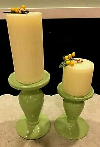 Wow! Two Very Nice Candle Stands With A Candle For Each