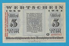 Germany Winterhilfswerk WHW 5 RM OVPRT 1940-41 S/B-Kroll 383b2 Block B As Issued