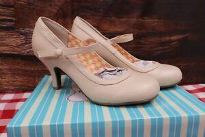 NIB BETTIE PAGE Mary Jane Retro Heel Shoe BBP320-BETTIE Nude, Sz7