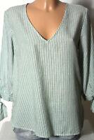 H&M Bluse Gr. 36 grün/creme-weiß gestreift 3/4-Arm Bluse/Tunika