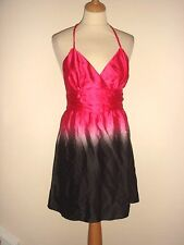 New Womens Asos Silky Feel Soft Satin Dip Dye Pink & Black Low Back Dress 8  02