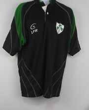Live For Rugby mens Jersey LFR Ireland Polo Shirt Black Green Trim Shamrock L