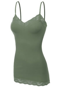 Womens Lace Trim Cami Tank Top Camisole Long Spaghetti Strap Plus Size S M L