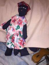 Primitive Hand Sewn Black Rag Doll 8� Tall. Beautiful Collectible Black America