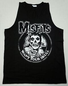 MISFITS Tank Top T-shirt Want Your Skull Danzig Horror Punk Men's Vest Black New