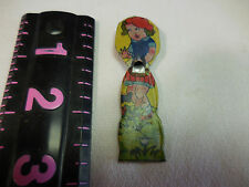Figural tin whistle 1930's girl holding doll Japan pre-war tin litho VGC