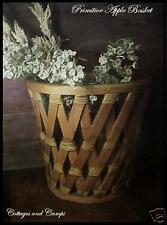 PRIMITIVE Antique Country Farm BASKET WOOD & REED Great for Kindling & Foliage!