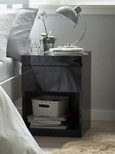 BLACK GLOSS MAINE 1 DRAWER BEDSIDE TABLE LAMP SIDE END TABLE 1 SHELF BRAND NEW