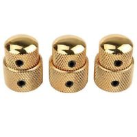 3 PCS Stacked Dual Control Knob Concentric Set for Guitar Bass Part Gold