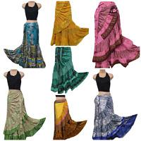 Wrap Around Skirt Boho Hippie Silk Blend Sarong Beach Holiday 8 10 12 14 16