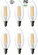 6-pack Bioluz LED Filament Candelabra E12 Base High Efficiency Candle Bulbs