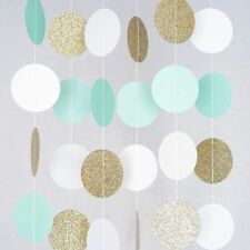Hanging Party Garland Circle Glitter Gold Mint White Decoration Wedding Birthday