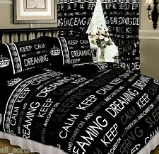 KEEP CALM AND CARRY ON DREAMING BLACK WHITE GREY KING SIZE DUVET COVER SET
