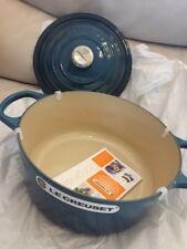 Le Creuset SIGNATURE Cast Iron ROUND Dutch Oven 5.5Qt Quart DEEP TEAL BLUE