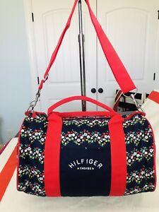 New Tommy Hilfiger Girl Mini Duffle Gym Bag Floral Navy Blue Cute
