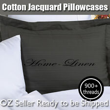 ** New 900TC Egypt Cotton Patterned Black Standard Pillowcases-Striped