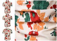 Mens Short Sleeve Hawaiian Shirt Casual Slim Short Sleeve Printed Beach Blouse