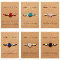 Fashion New Women Make a Wish Natural Stone Multi-color Card Bracelet Jewelry