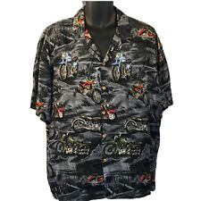 Vtg Paradise Found Motorcycle Chopper Hawaiian Shirt Hog Biker Grey XL