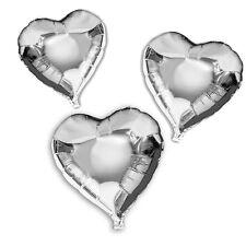 !!! Folienballon, Herzballon, für Helium Farbe Silber Inhalt 10 Ballons !!!