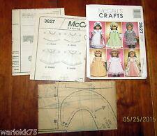 "McCalls Uncut 18"" Doll Sewing Pattern Colonial Dress Nightgown Bonnet Apron 3627"