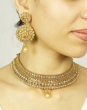 2347 Indian Bollywood Design Gold Plated Bridal Polki Necklace Fashion Jewelry