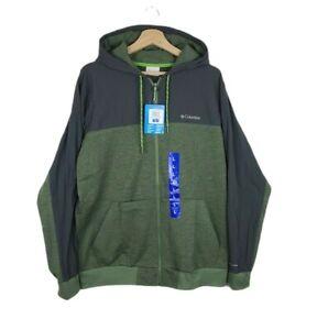Colombia Men's Full Zip Hooded 2-Toned Sweater Jacket In Mosstone Shark