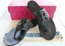 NIB Authentic TORY BURCH Zoey Cutout Logo Leather Thong Sandal Bright Navy Sz 8