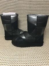 UGG Classic Glitter Patchwork Black Suede Fur Sparkle Short Boots Size 7 Womens