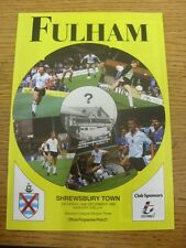 30/12/1989 Fulham v Shrewsbury Town  . Item appears to be in good condition unle