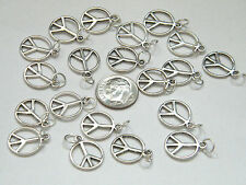 20 Pieces PEACE Charms w/ Rings Tibet Silver DIY Necklace Earrings Lot of 20 NEW