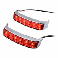 LED Saddlebag Run/Brake/Turn Lamp Light Chrome Housing Red Lens For Harley 14-19