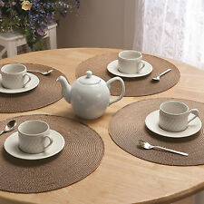 PP Knitting 4X PVC Dining Placemats Tableware Pad Mat Heat Insulation Fast