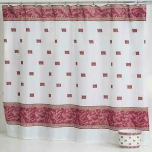 "Carnation Home ""Windsor"" Fabric Shower Curtain in Burgundy"