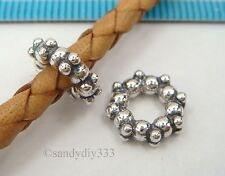2x STERLING SILVER DAISY ROUND SPACER BEAD f/ EUROPEAN CHARM BRACELET CHAIN #381