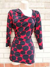 CC RED BLACK SPOTTY POLKA DOT LYCRA VINTAGE RUCHED DETAIL BLOUSE TUNIC TOP 12 M