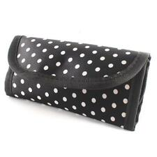 DURABLE BLACK WITH  WHITE POLKA  DOTS  CROCHET 10 HOOK POUCH CASE ORGANIZER.